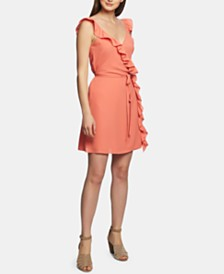 1.STATE Ruffle-Trim Wrap Dress