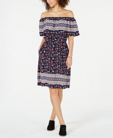 Off-The-Shoulder Printed Dress, Created for Macy's