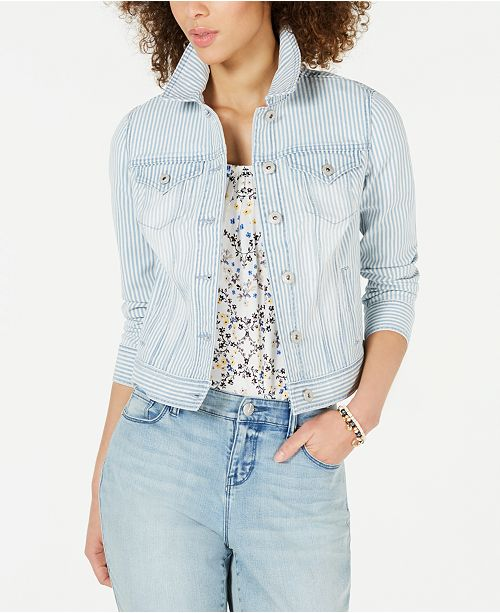 Style & Co Stripe Denim Jacket, Created for Macy's
