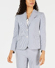 Anne Klein Striped Seersucker Two-Button Jacket