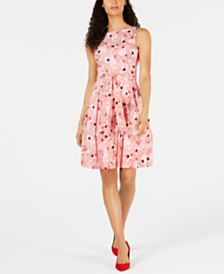 Anne Klein Cotton Printed Belted A-Line Dress