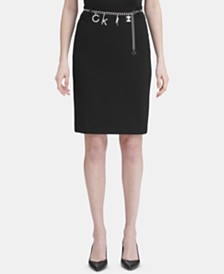 Calvin Klein Charm Belted Pencil Skirt