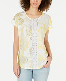 Style & Co Sublimated Printed Top, Created for Macy's
