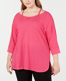 Calvin Klein Performance Plus Size Cutout-Neck Top