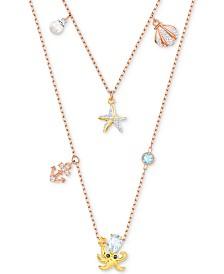 "Swarovski Tri-Tone Crystal & Imitation Pearl Ocean-Motif Double-Row Necklace, 14-1/8"" + 2"" extender"