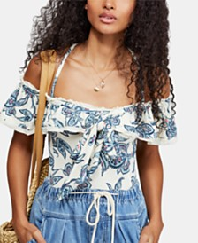 Free People Cha-Cha Printed Off-The-Shoulder Top