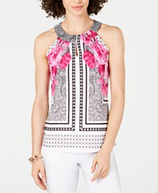 I.N.C. Petite Printed Twisted Halter Top, Created for Macy's