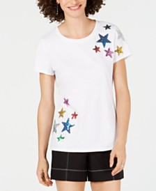 I.N.C. Petite Rainbow Sequin Stars T-Shirt, Created for Macy's