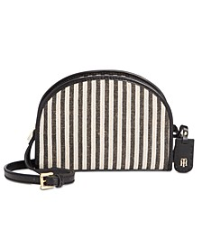 Julia Straw Lurex Half Moon Crossbody
