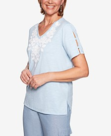 Monterey Embroidered Split-Sleeve Top