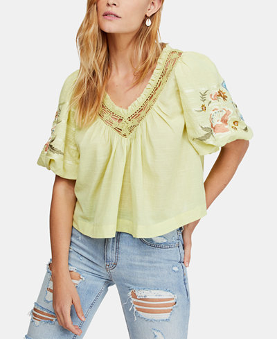 Free People Bohemia Embroidered Peasant Top