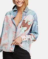 9ebda59d Free People Chasing Waves Mixed-Print Button-Down Top