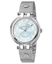 By Franck Muller Women's Swiss Quartz Silver Stainless Steel Bracelet Ice Blue Dial Watch, 34mm