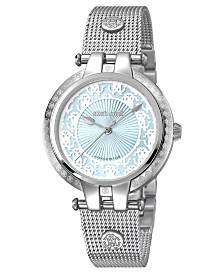 Roberto Cavalli By Franck Muller Women's Swiss Quartz Silver Stainless Steel Bracelet Ice Blue Dial Watch, 34mm