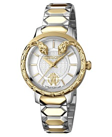Roberto Cavalli By Franck Muller Women's Swiss Quartz Silver Dial Two-Tone Gold Stainless Steel Bracelet Watch, 34mm