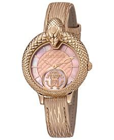 By Franck Muller Women's Swiss Quartz Metallic Rose Calfskin Leather Strap Watch, 34mm