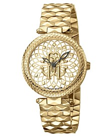 By Franck Muller Women's Swiss Quartz Gold-Tone Stainless Steel Gold Dial Bracelet Watch, 34mm