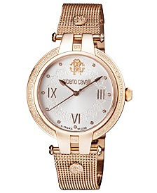 Roberto Cavalli By Franck Muller Women's Diamond Swiss Quartz Rose-Tone Stainless Steel Bracelet Watch, 40mm