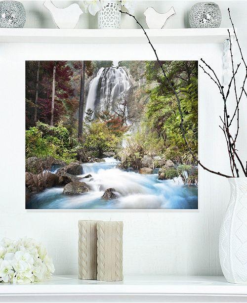 """Design Art Designart 'Blue Klonglan Waterfall' Photography Metal Wall Art - 20"""" X 12"""""""