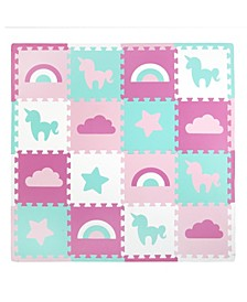 Tadpoles 16 Piece Foam Play Mat Set, Unicorn and Rainbows