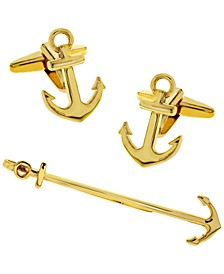 Sutton Ship Anchor Cufflinks and Tie Clip Set