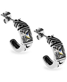 Sutton Stainless Steel Square Stone Open Hoop Earrings