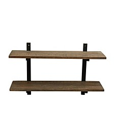 "Alaterre Pomona 36"" W Metal and Solid Wood Wall Shelf"