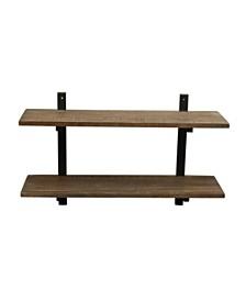 "Alaterre Pomona 36"" W Metal and Solid Wood Wall Shelf"