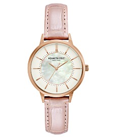 Kenneth Cole New York Ladies' Leather Strap with Mother Of Pearl Dial, 32MM