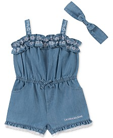 Calvin Klein Baby Girls Chambray Romper & Headband