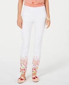 Charter Club Printed-Hem Pull-On Skinny Pants, Created for Macy's