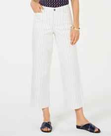 Charter Club Striped Tummy-Control Wide-Leg Jeans, Created for Macy's