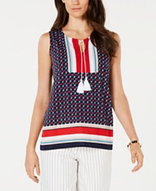 Charter Club Petite Tassel-Tie Top, Created for Macy's