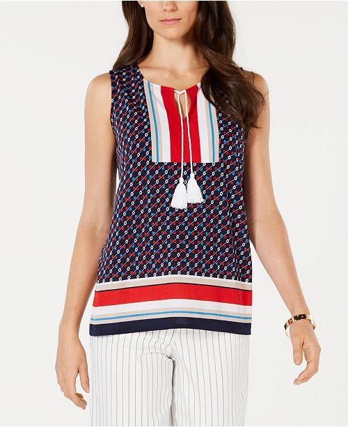 Charter Club Printed Tassel-Tie Sleeveless Top, Created for Macy's