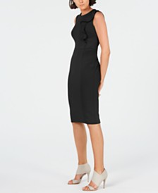 Calvin Klein Side-Ruffle Sheath Dress