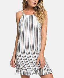 Roxy Juniors' Striped Ruffle-Hem Dress