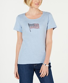 Karen Scott Petite Sparkle Flag Top, Created for Macy's
