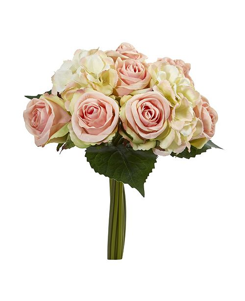 "Nearly Natural 12"" Rose and Hydrangea Bouquet Artificial Flower (Set of 6)"