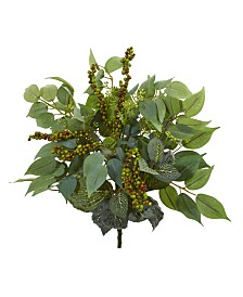 "Nearly Natural 14"" Mixed Ficus, Fittonia and Berries Bush Artificial Plant (Set of 6)"