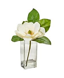 Large Magnolia Artificial Arrangement in Glass Vase
