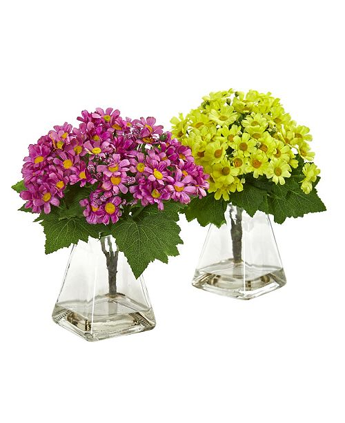 Nearly Natural Daisy Artificial Arrangement in Vase (Set of 2)