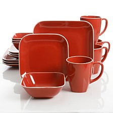 Laurie Gates Square Dance 16-piece Red Dinnerware Set