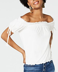 American Rag Juniors' Ruffle-Trimmed Off-The-Shoulder Peasant Blouse, Created for Macy's