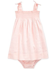 Polo Ralph Lauren Baby Girls Smocked Cotton Dress & Bloomer