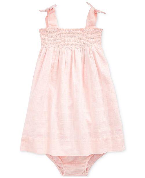 94f09ca88 ... Polo Ralph Lauren Baby Girls Smocked Cotton Dress   Bloomer ...