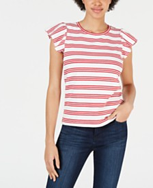 Maison Jules Striped Flutter-Sleeve Top, Created for Macy's