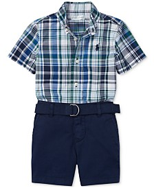 Polo Ralph Lauren Baby Boys Shirt, Belt & Shorts Set