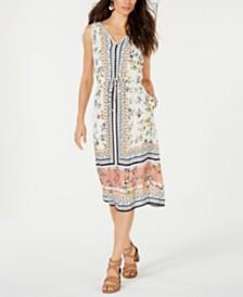 Lucky Brand Olivia Scarf-Print Midi Dress