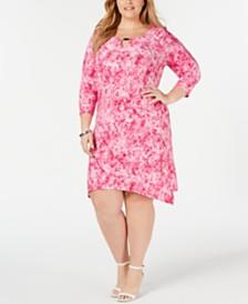NY Collection Plus Size Mixed-Print Handkerchief-Hem Sheath Dress