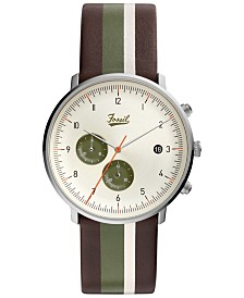 LIMITED EDITION  Fossil Men's Chronograph Chase Timer Striped Brown Leather Strap Watch 42mm, Created for Macy's